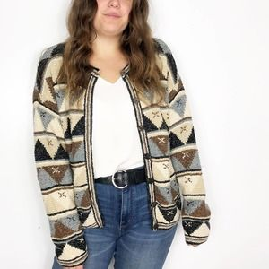 VINTAGE Brown Southwestern Chunky Cardigan Sweater